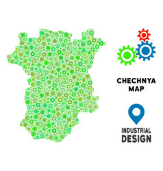 Gears chechnya map collage vector