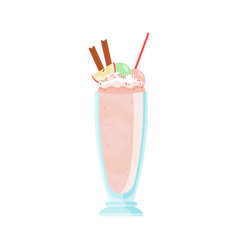 glass cold milkshake decorated with apple vector image
