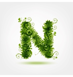 Green eco letter N for your design vector