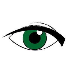 Green eye look watch cartoon icon vector