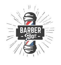 hairdressing saloon with barber pole vector image