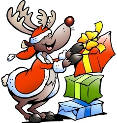 Hand-drawn of an Reindeer with gifts vector