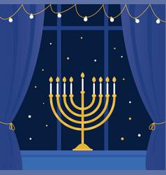Hanukkah and room window vector