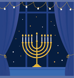 hanukkah menorah and room window vector image