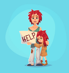 Homeless child cartoon flat character homeless vector