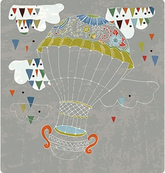 hot Air Balloon in sky with tea cup and abstract vector image