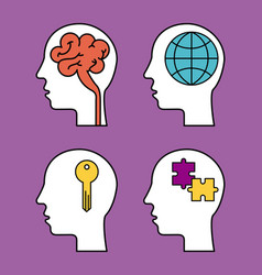 human silhouette head with brain globe puzzle and vector image