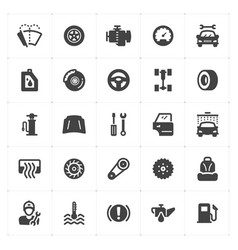 icon set - garage and auto filled icon vector image