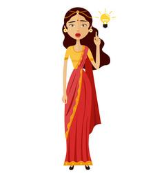 indian woman woman get an idea flat cartoon vector image