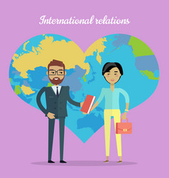 international relations flat design concept vector image