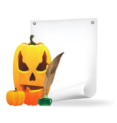 Jack O Lantern paper and feather vector image