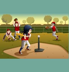 Kids playing tee ball vector