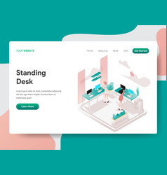 landing page template standing desk concept vector image