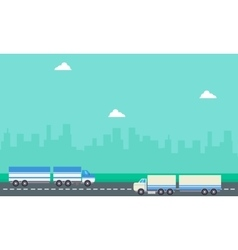 Landscape of two container truck vector