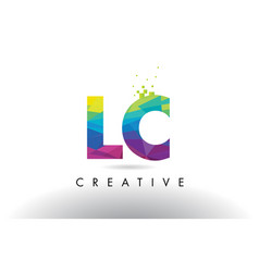 Lc l c colorful letter origami triangles design vector
