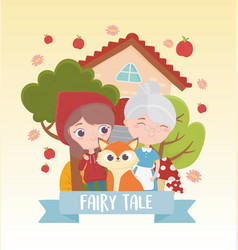 Little red riding hood granny and wolf fairy tale vector
