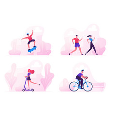 male and female characters sports activity vector image