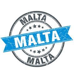 Malta blue round grunge vintage ribbon stamp vector