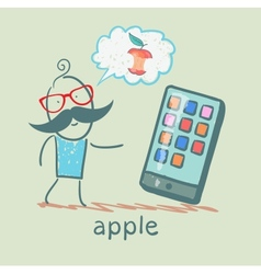 man looking at mobile and thinks the apple vector image