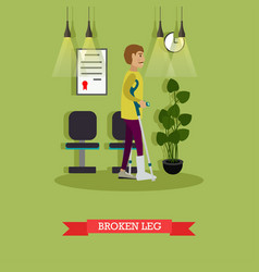 Man with broken leg in flat vector