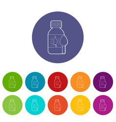 medical syrup for kidney icons set color vector image