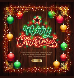 merry christmas neon sign with colorful lights on vector image