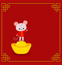 mouse and chinese gold ingot on red background vector image