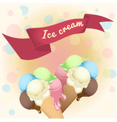 multicolor poster - two wafer ice cream cones vector image