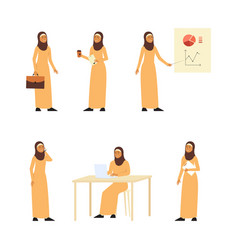 muslim business working woman in office set of vector image