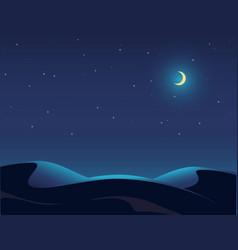 Night desert landscape starry sky vector