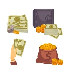 Paper money and bag Concept of big vector