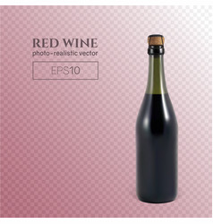 Photorealistic bottle red sparkling wine on a vector