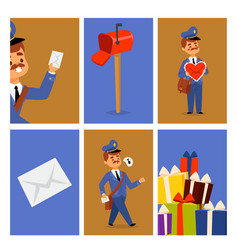 Postman delivery man character cards vector