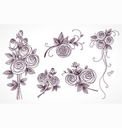 roses set collection of roses bouquets vector image
