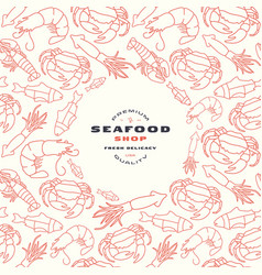 Seafood shop label and frame with pattern vector