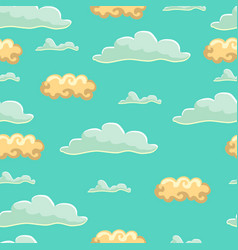 seamless pattern with cartoon cute cloud vector image
