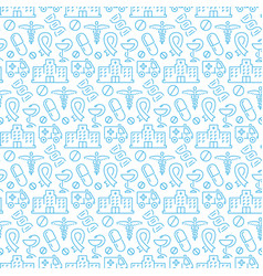 seamless pattern with icons medical items vector image