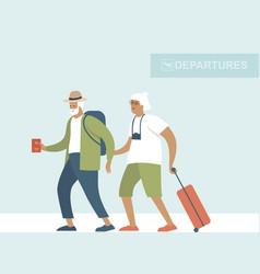 senior travelers ready for summer holidays vector image