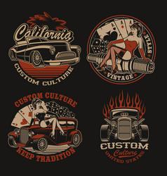set coloured logos for shirt designs vector image