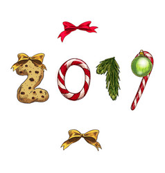 set of christmas and new year decorations numbers vector image