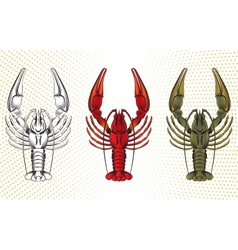 Set of crawfish vector