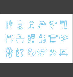 set of linear icons related to bathroom vector image