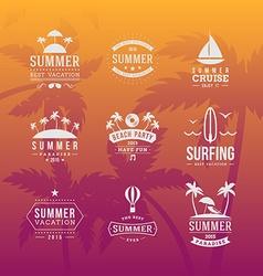Set of Summer Holidays Hipster Vintage Labels or vector