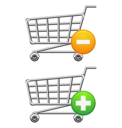 Shoppingcart and button vector image