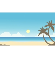 Silhouette of palm on the beach scenery vector image