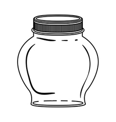 Silhouette spherical glass container with lid vector