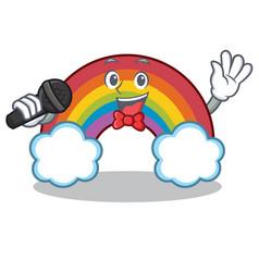 singing colorful rainbow character cartoon vector image