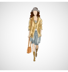 sketch girl in fashion clothes eps vector image