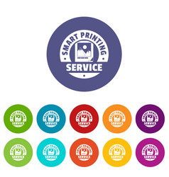 Smart printing service icons set color vector