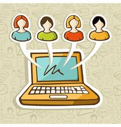 Social media people online interaction vector